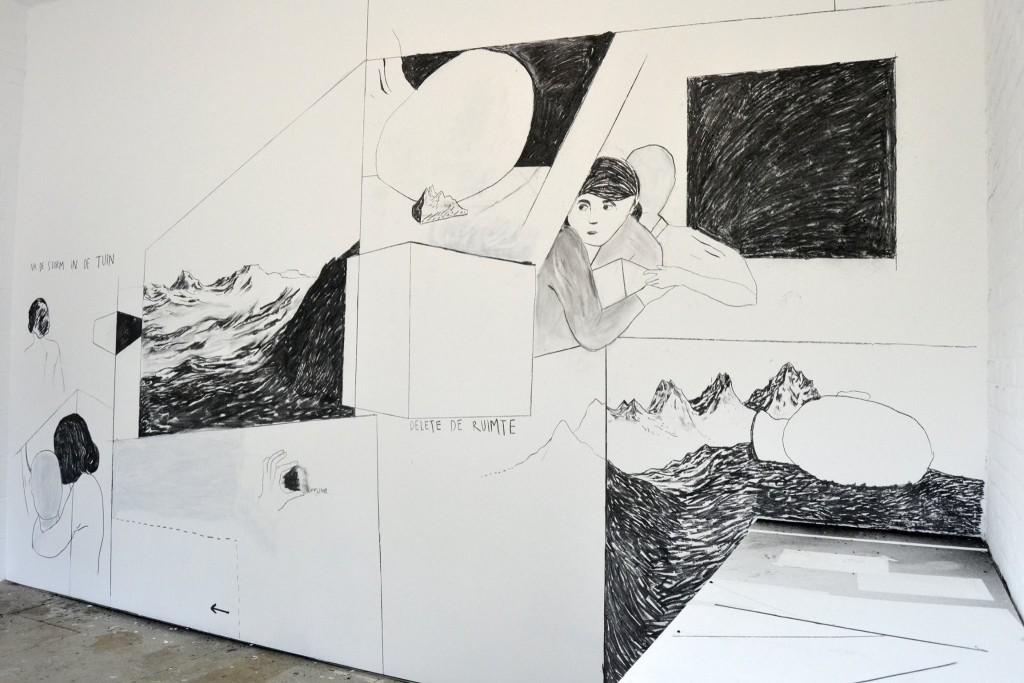 """""""De Muur"""", Watou 2015, met tekst van Frank Adam (foto © Kunstenfestival Watou)"""